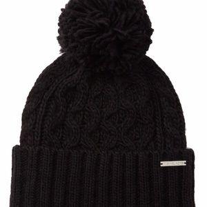 Michael Kors Pom Pom Cable Knit Beanie Black NWT